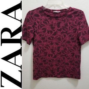 ZARA Burgundy Red Short-Sleeve Floral CrewTee